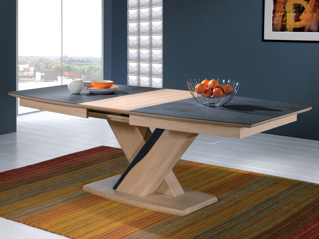 Table de salle a manger carree avec pied central maison - Table design pied central ...