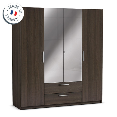 1 grande armoire 4 portes tiroirs miroirs. Black Bedroom Furniture Sets. Home Design Ideas