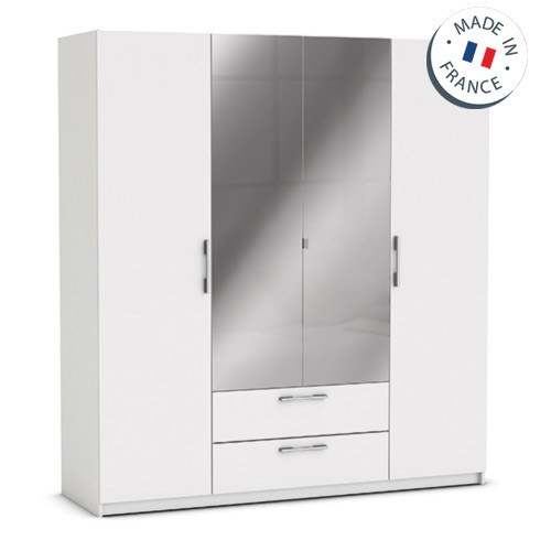 1 grande armoire 4 portes tiroirs miroirs jupiter blanche - Grande armoire blanche ...