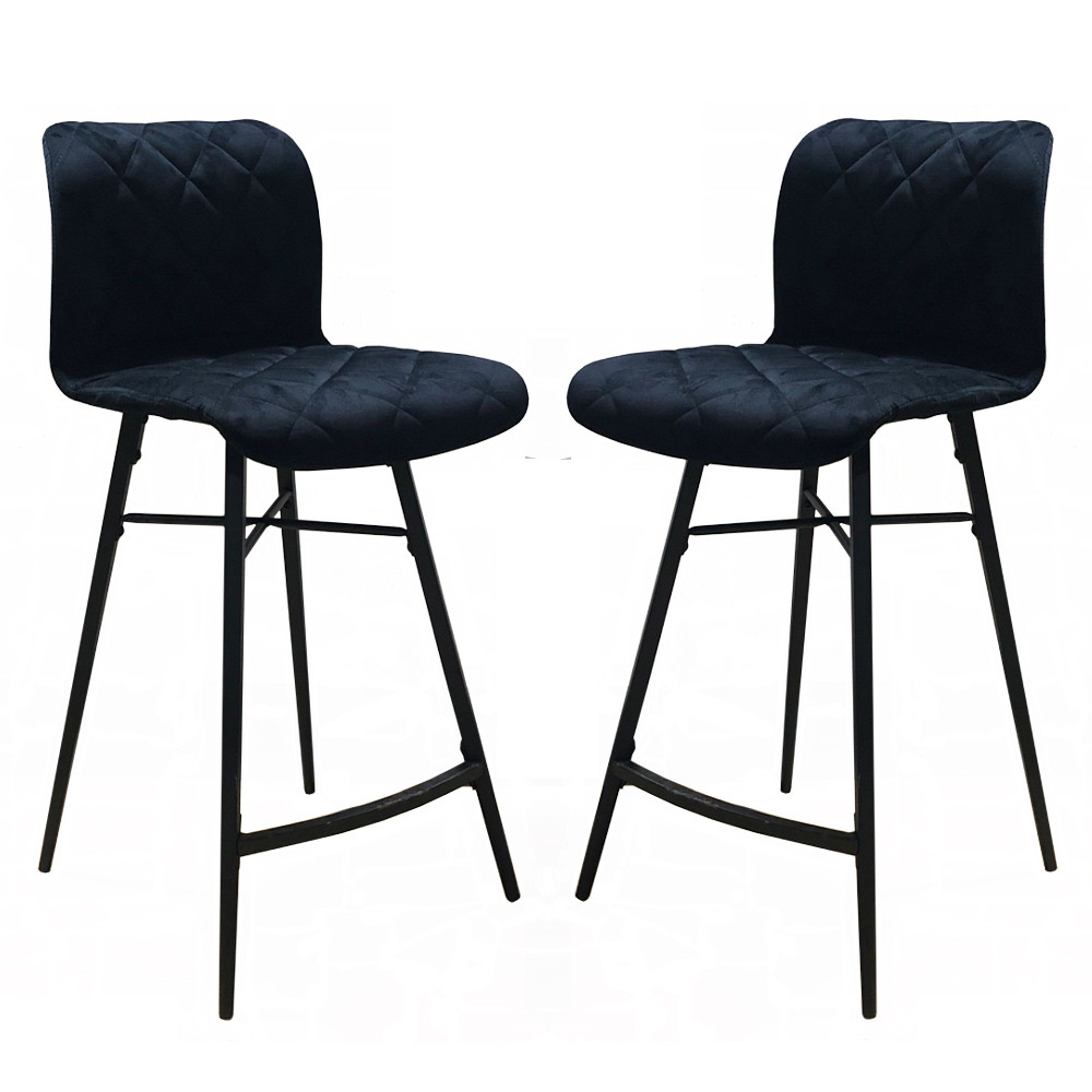 Un lot de 2 chaises de bar moderne en suedine MANHATEN noir
