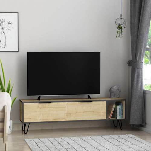 Meuble TV Furoki, Chene/Anthracite 150 cm de la série Decoline