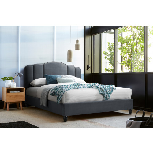 Lit double 160/200 tissu polyester OASIS gris